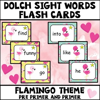 Sight Words Pre Primer and Primer Flamingo Theme