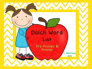 Dolch Sight Words Pre-Primer and Primer Lists