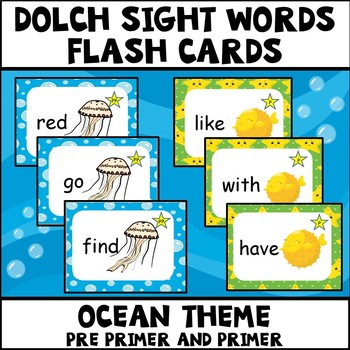 Dolch Sight Words Pre Primer and Primer Ocean Theme