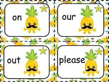 Sight Words Pre Primer and Primer Pineapple Theme