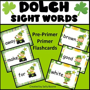 Dolch Sight Words Pre Primer and Primer St. Patrick's Day Theme