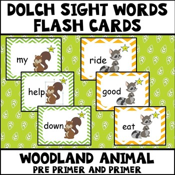 Dolch Sight Words Pre Primer and Primer Woodland Animal Theme