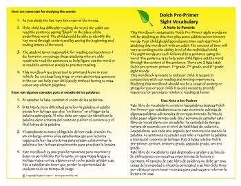ESL/ELL Dolch Sight Words Pre-Primer words/phrases booklet