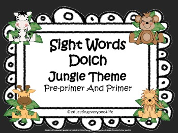 Word Wall: Sight Words Pre-Primer/Primer Jungle Theme