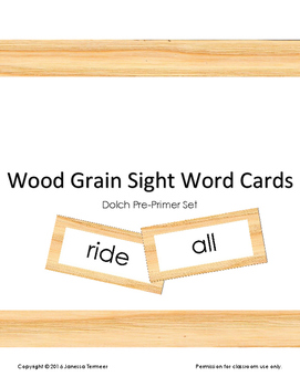 Dolch Sight Word Cards (Pre-primer list) on wood grain background