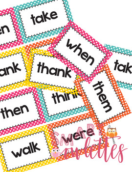 Dolch Sight Words - PreK/TK-1st Grade Flash Cards Word Wall Bright Polka Dots