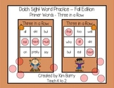 Dolch Sight Words Primer - Three in a Row - Fall Edition