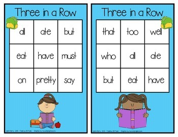 Dolch Sight Words Primer - Three in a Row - Back to School Edition