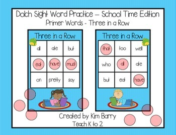 Dolch Sight Words Primer - Three in a Row - Back to School