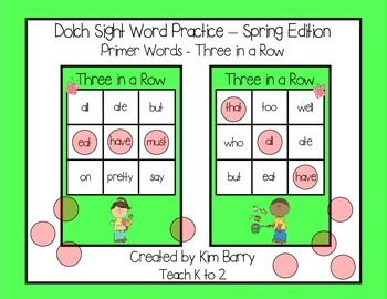 Dolch Sight Words Primer - Three in a Row - Spring Edition