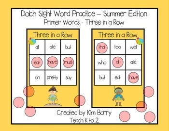 Dolch Sight Words Primer - Three in a Row - Summer Edition