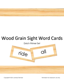 Dolch Sight Word Cards (Primer list) on wood grain background