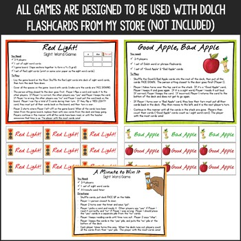 Dolch Sight Words - Print 'n Go Games