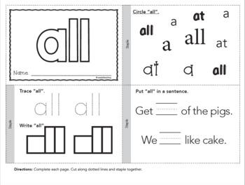 Dolch Sight Words Printable Books - Primer Set