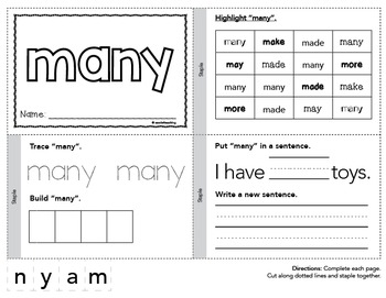 Dolch Sight Words Printable Books - Second Grade Set