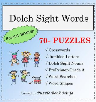 Dolch Sight Words Puzzle Bundle - 42 UNIQUE Dolch Sight Words Puzzle Bundle