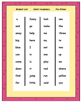 Dolch Sight Words Reading Materials & Assessments