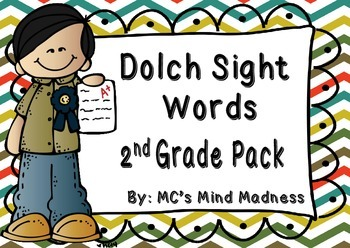 Dolch Sight Words Second Grade Pack