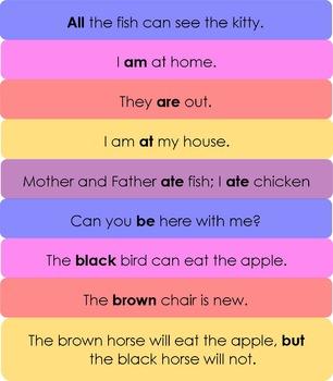 Dolch Sight Words Sentences. Level 2 Primer