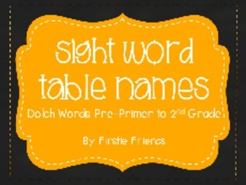Dolch Sight Words Table Names (PP - 2nd) Chalkboard and Orange