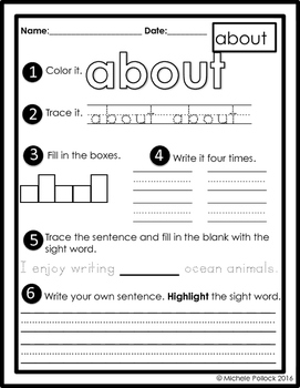 Dolch Sight Words Third Grade