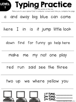 Dolch Sight Words Typing Practice for Google Drive