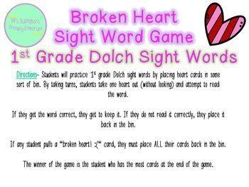 Sight Words Valentine's Game
