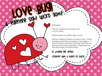 Dolch Sight Words: Valentine's Day Sight Word Game