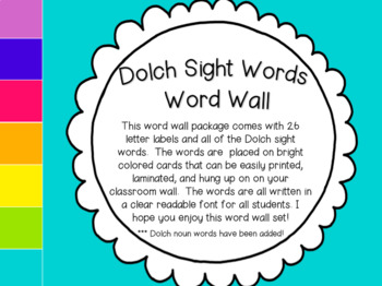 Dolch Sight Words Word Wall