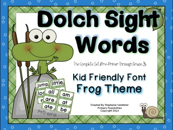 Dolch Sight Words (Word Wall Cards) Frog Theme