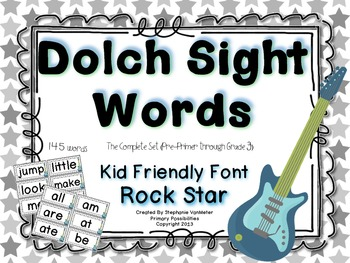 Dolch Sight Words (Word Wall Cards) Rock Star Theme
