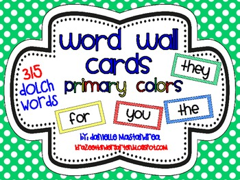 Dolch Sight Words / Word Wall Cards in Primary Colors {315 Words}