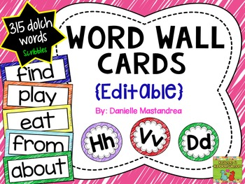 Dolch Sight Words / Word Wall Cards in Scribbles {EDITABLE}