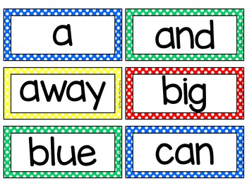 Dolch Sight Words / Word Wall Cards in Primary Polka {EDITABLE}