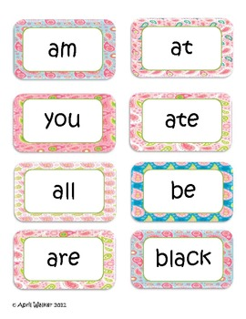 Dolch Sight Words Word Wall Cards with Paisley Borders