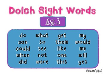 Dolch Sight Words- Word builder- READ, BUILD, WRITE (list 3)