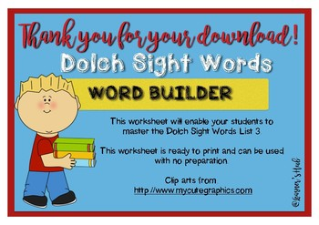 Dolch Sight Words- Word builder- READ, BUILD, WRITE (list 4)