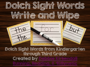 Dolch Sight Words Write and Wipe