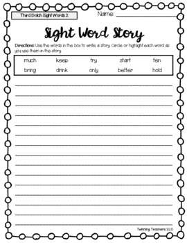 Dolch Sight Words - Writing Activity