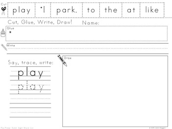 Dolch Sight Words activities {Pre-Primer List}