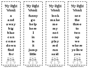 Dolch Sight Words and Nouns Bookmarks - Monsters