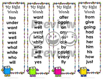 Dolch Sight Words and Nouns Bookmarks - Book Buddy