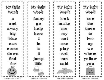 Dolch Sight Words and Nouns Bookmarks - Halloween
