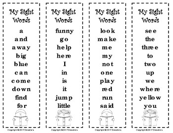 Dolch Sight Words and Nouns Bookmarks - Reading Kids