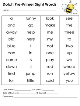 Dolch Sight Words assessment and/or differentiated center activity