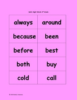 Dolch Sight Words for 2nd grade