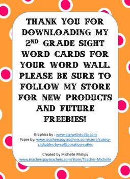 Dolch Sight Words for Word Walls - 2nd  Grade Sight Words