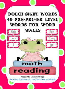 Dolch Sight Words for Word Walls - Pre-Primer Level