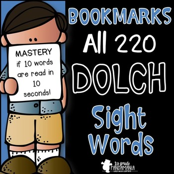 Dolch Sight Words on Bookmarks {All 220}