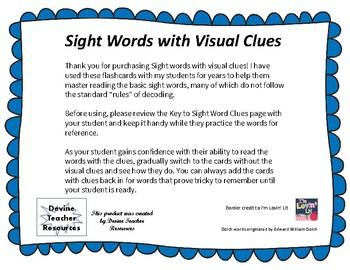 Sight Words with Visual Clues, PreKindergarten